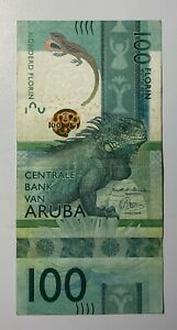 ARUBA 100 Florin Crisp aVF Banknote (2019) P-24 Prefix A Paper Money