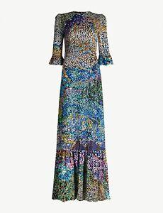 MARY KATRANTZOU Mallais Flocked Silk-Blend Dress - UK 14, UK 16 - £1600