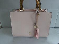 L. CREDI Damen Handtasche Henkeltasche Bambushenkel Tasche Bag Rosa
