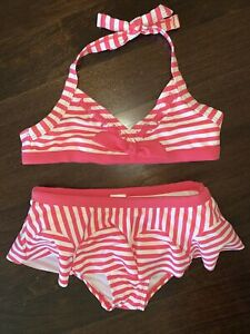 Janie And Jack NWT Sz 10 Shell Beach Pink Striped Bikini Swimsuit