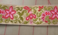 1 Yard Jacquard Ribbon Pink Red Floral Golden Background Bold & Cheerful 1-1/2""
