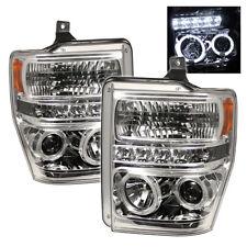 Ford 08-10 F250 F350 F450 F550 SuperDuty Chrome Halo LED Projector Headlights