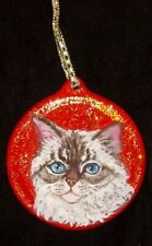 Selkirk Rex Cat Christmas Ornament Decoration Hand Painted Ceramic