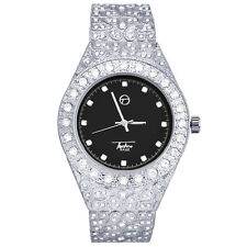 Men's Nugget Bling Silver Plated Iced CZ Metal Band Watch WM 8717 SBK