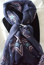 Scarf + Scarf Ring Gift Set Navy Blue Lge Star (Cream & Silver Ring) +Gift Bag
