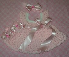 SALE Handmade Crochet BABY DRESS ,HEADBAND-BOOTIES PINK by ROCKY MOUNTAIN MARTY