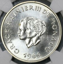 1966 NGC MS 66 Grace Kelly Wedding Monaco 10 Francs SIlver Coin (18062002C)