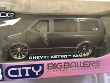 "Chevrolet Astro Van Gun Metal HTF DUB City Edition 24"" BIG BALLER$ 1/18 Jada"