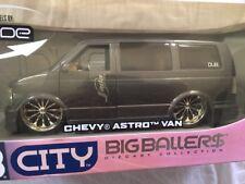 "Chevrolet Astro Van Gun Metal HTF DUB City Edition 24"" BIG BALLER$ 1/18 Jada"