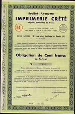 FRENCH PUBLISHERS / PRINTERS : Imprimerie Crete, Paris France dd 1938