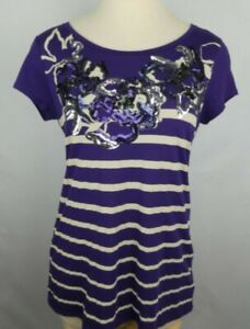 Express Womens Size Large Purple Tan Silver Sequined Short Sleeve T Shirt Top