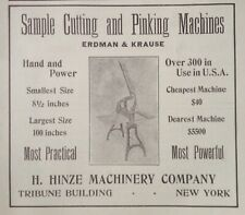 1914 AD(J23)~H. HINZE MACHINERY CO. NYC. SAMPLE CUTTING AND PINKING MACHINES