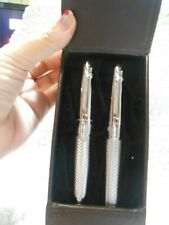 NEW Cutter & Buck Fancy Award Double Pen Set VERY FANCY in Leather Holder OSR2