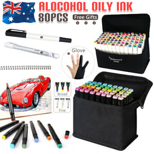 80 Color Set Marker Pen Touch Graphic Art Five Sketch Twin Tips Fine Broad Copic