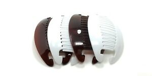 4 set Interlocking Banana Combs Hair Clip French Side Comb Holder (Brown-White).