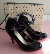 Prohibido Talla 4 Negro Patente Mary Jane Zapatos Taco Alto 1950s Rockabilly/Goth