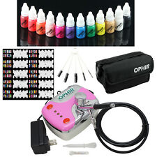OPHIR 12x Nail Inks Airbrushing 0.3mm Nail Airbrush Kit with Compressor Nail Set