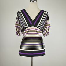 CACHE Black Purple Striped Sexy Fitted Stretch Knit Top Short Sleeve Blouse M