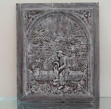 ANCIEN PANNEAU PLAQUE FRONTON BOIS SCULPTE VINTAGE ART BRETON BREIZH BOISERIE N1