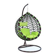 Wicker Hanging Egg Swing Chair Green Indoor Outdoor Use