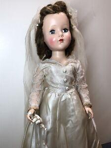 "20.5"" Antique Vintage Arranbee R&B Hard Plastic Walker Wedding Bride Original SX"