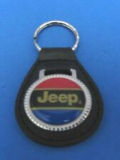 CHRYSLER JEEP LEATHER KEYCHAIN KEY CHAIN RING FOB #152 RED BLUE