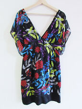 Seduce Sz 12 Tropical Floral Silk Draped Slv V-Neck Back Fitted Mini Party Dress