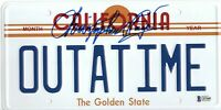 CHRISTOPHER LLOYD SIGNED AUTO BACK TO THE FUTURE LICENSE PLATE BECKETT BAS COA 8