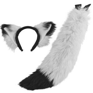 PAWSTAR Ear & Mini Fox Tail Set - White Furry Halloween Costume Wolf [WH/BK]4007
