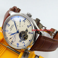 43mm PARNIS white dial power reserve Folding clasp seagull automatic mens watch