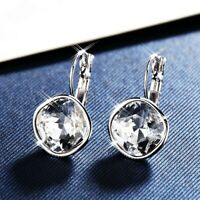 18K White Gold Filled Made With SWAROVSKI Crystal Diamond Shaped Hoop Earrings