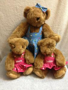 "Vermont Teddy Bear 15"" Momma Bear Floral Dress w/ 12"" Twin Girls Dress Plush"