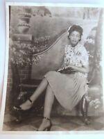 VINTAGE 1940s Beautiful Black Woman Mona Lisa Smile 8x10 Photo Portrait