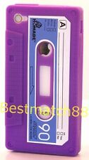 for iPhone 4 4s cassette tape silicone soft case cover purple & film