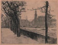 WALTER ERNST ZEISING (1876-1933) Signed Etching LANDSCAPE DRESDEN GERMANY 1912