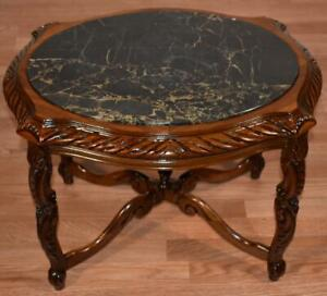 1920 Antique French Walnut & Marble top small coffee table / side table