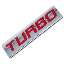 CHROME/RED METAL TURBO ENGINE RACE MOTOR SWAP EMBLEM BADGE FOR TRUNK HOOD DOOR