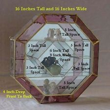 Large Octagon ROSE PINK STAINED GLASS & BRASS mirrored CURIO CABINET display