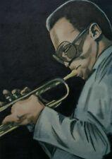 More details for original aceo art sketch card miles davis jazz musician trumpeter ink