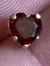Vintage 14K Gold (One) Single Stud Earring Heart Shaped GARNET Stone Solitaire