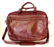 Wilsons Leather Burgundy Soft Leather 3 Compartment Briefcase / Laptop Bag