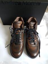 Neu Etikett Yoox Designer schwarz-braune Sneaker von Andrea Morelli 39 Echtleder