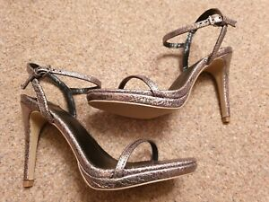 Faith NEW Barely There Metallic Sandals. High Heels. Party.  Size 6 39. RRP £45