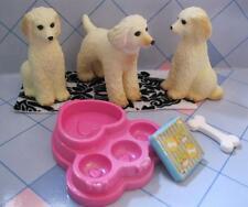 cute Barbie Doll Pet Shop Dollhouse Dog-Labradoodle? Yellow Lab poodle Triplets