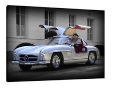 1955 Mercedes 300 SL Gullwing 30x20 Inch Canvas - Wall Print Framed Picture Art
