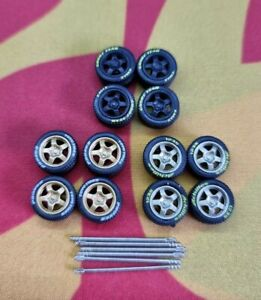1/64 Rubber Wheels 3 Pack Real Riders Hot Wheels Matchbox Ford Mini Nissan a3