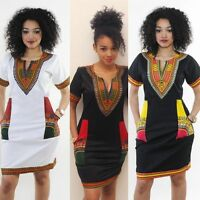 Summer Women's Traditional African Print Dashiki Dress Short Sleeve Party Dress