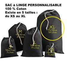 SAC à LINGE NOIR a personnaliser crèche vetements enfants Taille XL Grand modèle