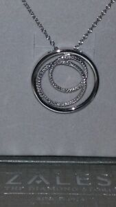 """ZALES Jewelers Sterling Silver Diamonds """"In The Round"""" ECLIPSE Necklace (18 Inch"""