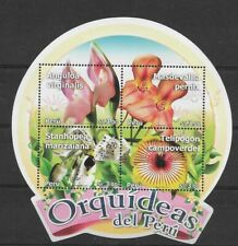 PERU YEAR 2010 ORCHIDS FLOWERS ROUND SOUVENIR SHEET  MINT NEVER HINGED